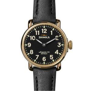 SHINOLA Runwell 2H Black Leather Strap Watch 28mm